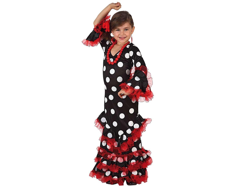 Disfraz Sevillana niña Lunares Negro Blanco