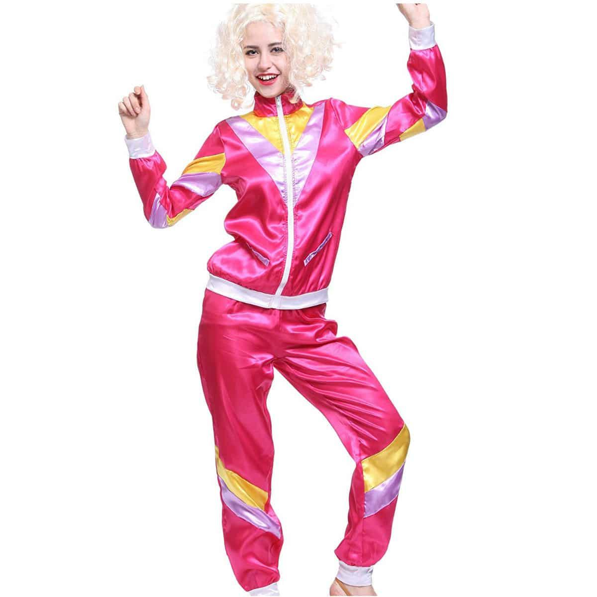 Disfraz ochentero Chándal para Mujer Color Rosa Disfraces de los años 80 Deportiva Retro 80s