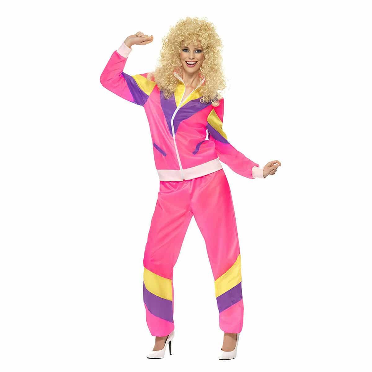 Disfraz de chándal años 80, Rosa, con chaqueta y pantalón