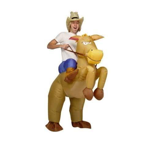 Disfraz Vaquero Cowboy con Caballo Hinchable para Adulto