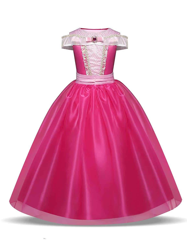 Disfraz de Princesa Aurora Vestido, Traje de Bella Durmiente para Niña