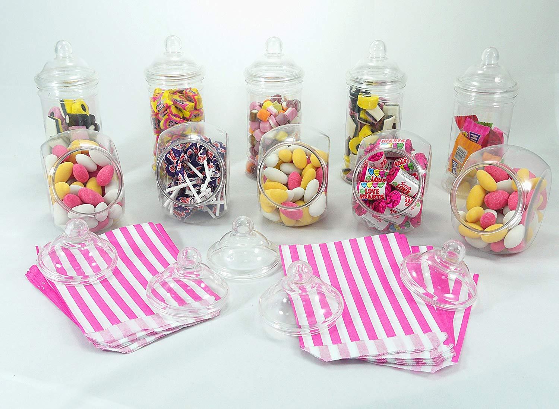 Paquete de fiesta - 10 frascos de plástico cristalino con tapas de rosca estilo victoriano. Decoración mesas de boda, fiestas, cumpleaños. 100 bolsas gratis.
