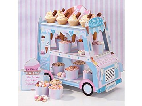 Stand de Carrito Helados con 3 niveles. Perfecto para mostrar dulces, pasteles y caramelos en el centro de la mesa para una fiesta.