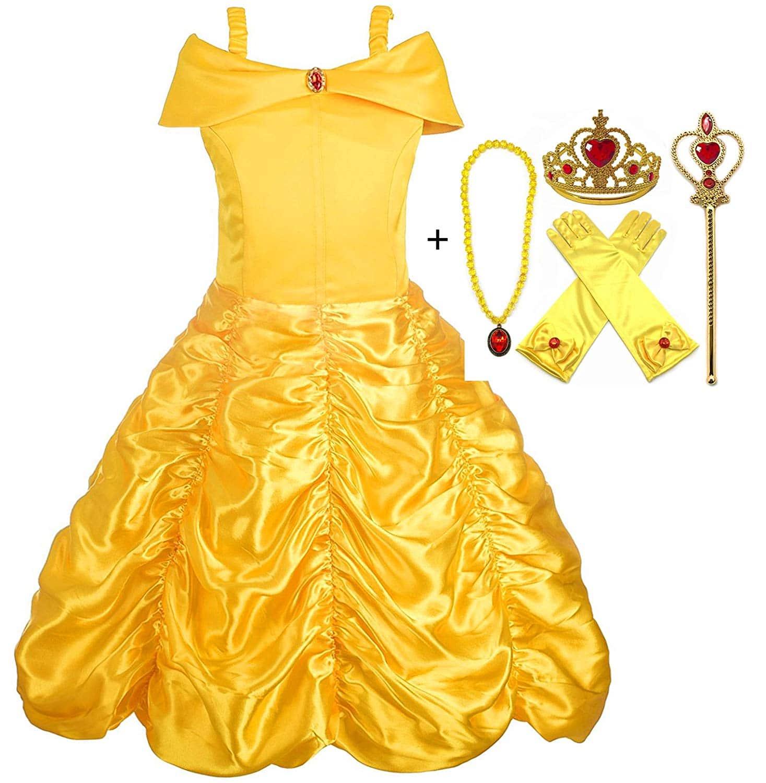 Disfraz de Princesa Bella - Vestido y Accesorios, Guantes, Tiara, Varita y Collar