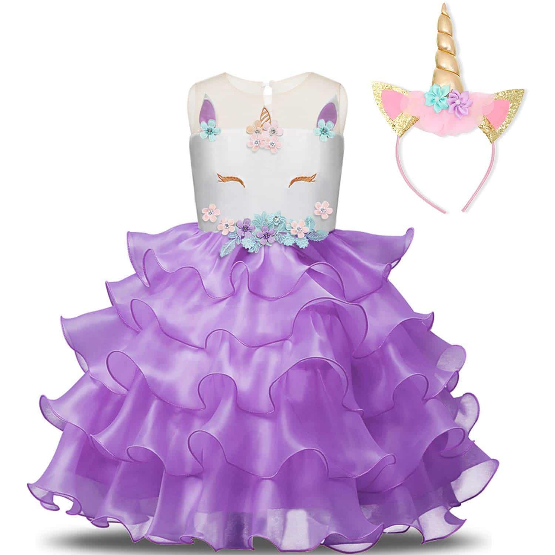 Unicornio Disfraz Vestido de Princesa Morado