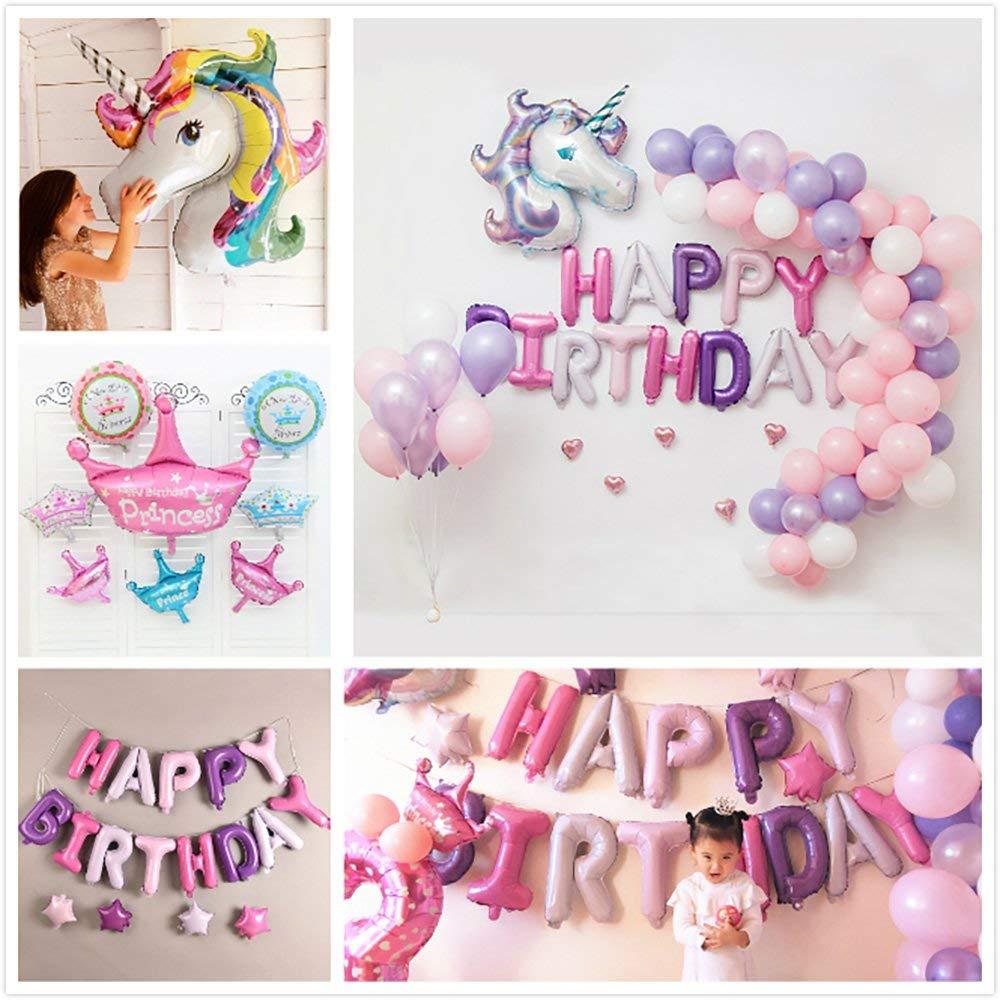 Decoraciones de Fiesta Unicornio - Globos de unicornio, feliz cumpleaños DIY