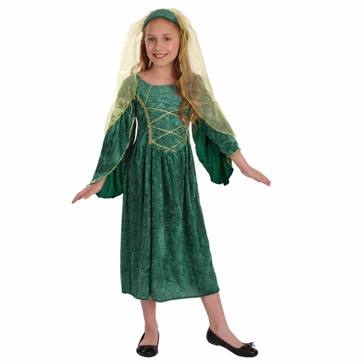 Disfraz De Princesa Medieval Para Niña Verde