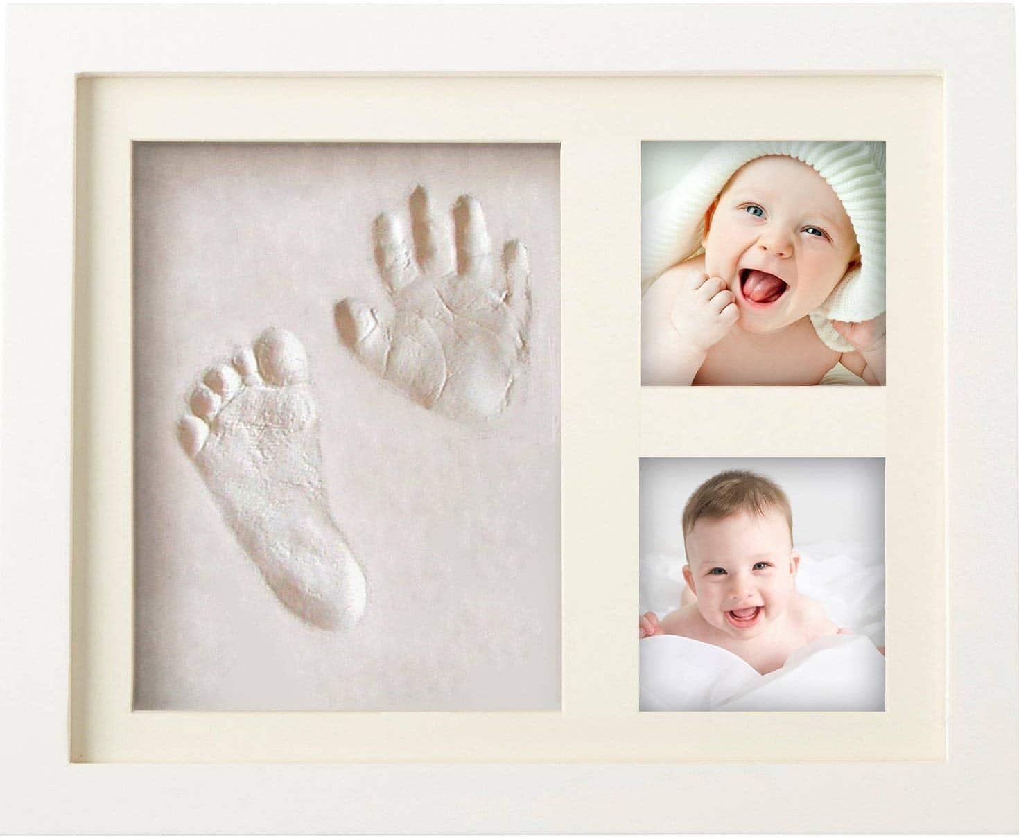 Kit de Marco Para Manos y Huellas de bebé para niño y niña - marcos de arcilla y madera