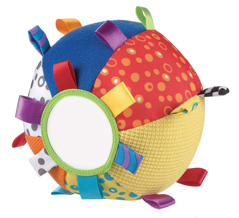 Playgro 0180271 - Pelota de tela con texturas, espejo, etiquetas y sonajero