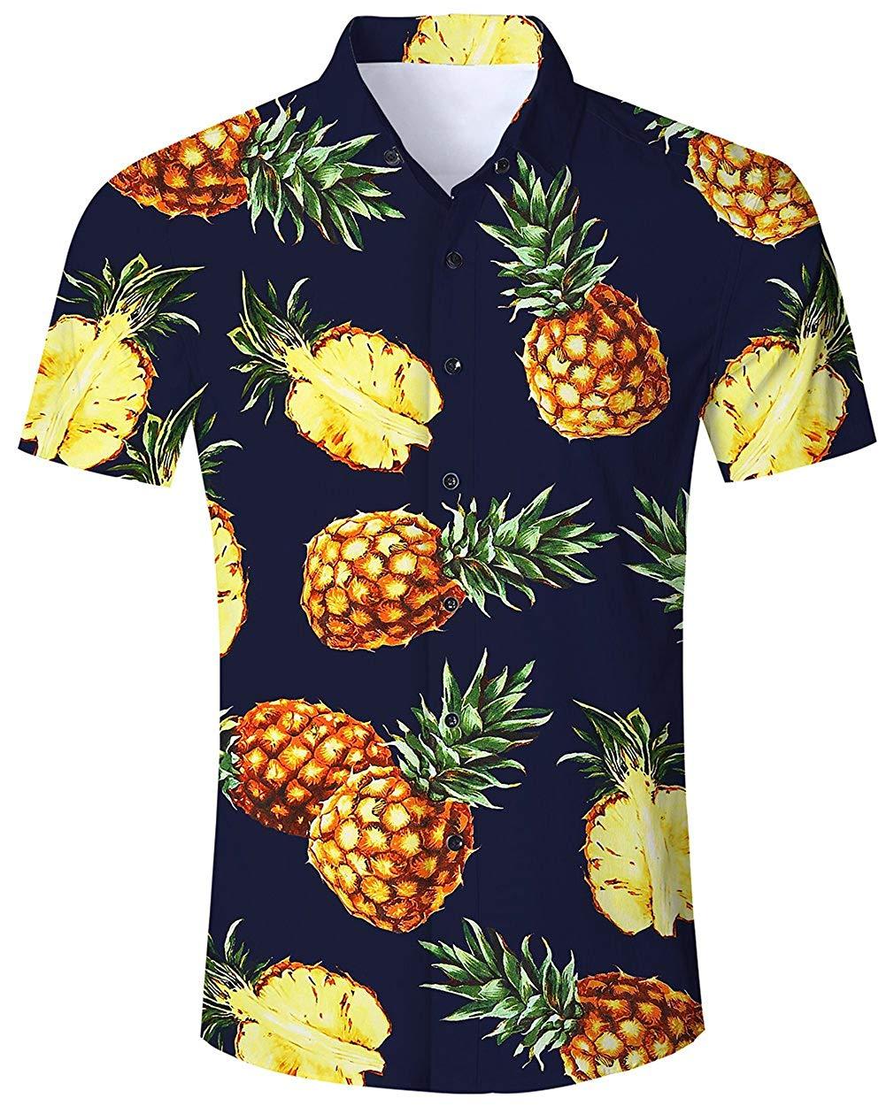 7c0ebc5c05c4 Camisa Hawaiana para Hombre Mujer Casual Manga Corta Camisas Playa Verano  Unisex 3D Estampada Funny Hawaii Piña - Negra