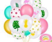 50 Piezas de Globos de Fiesta Hawaiana Globos de Látex Incluye Globos de Puntos Lunares Flamingo Piña de Hoja Tropical con 3 Rollos de Cintas para Decoración de Fiesta