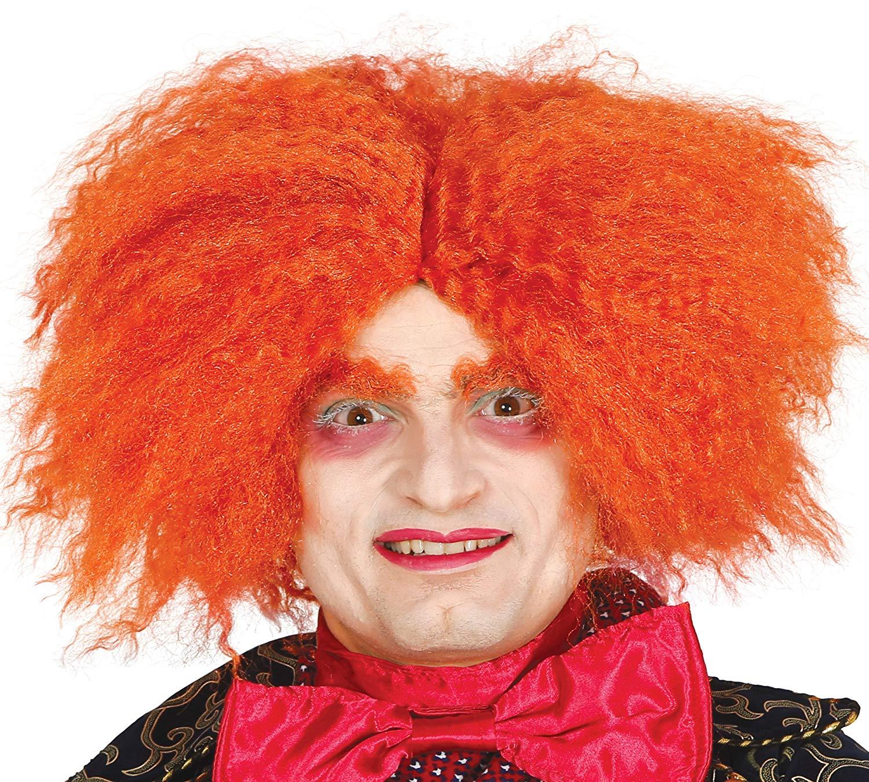 Peluca Sombrerero Loco Rizos , Color naranja Talla única Guirca
