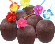12 Tazas Forma de Coco con Pajitas Flor Hibiscus - Fiesta Luau Hawaiana Temática de Playa