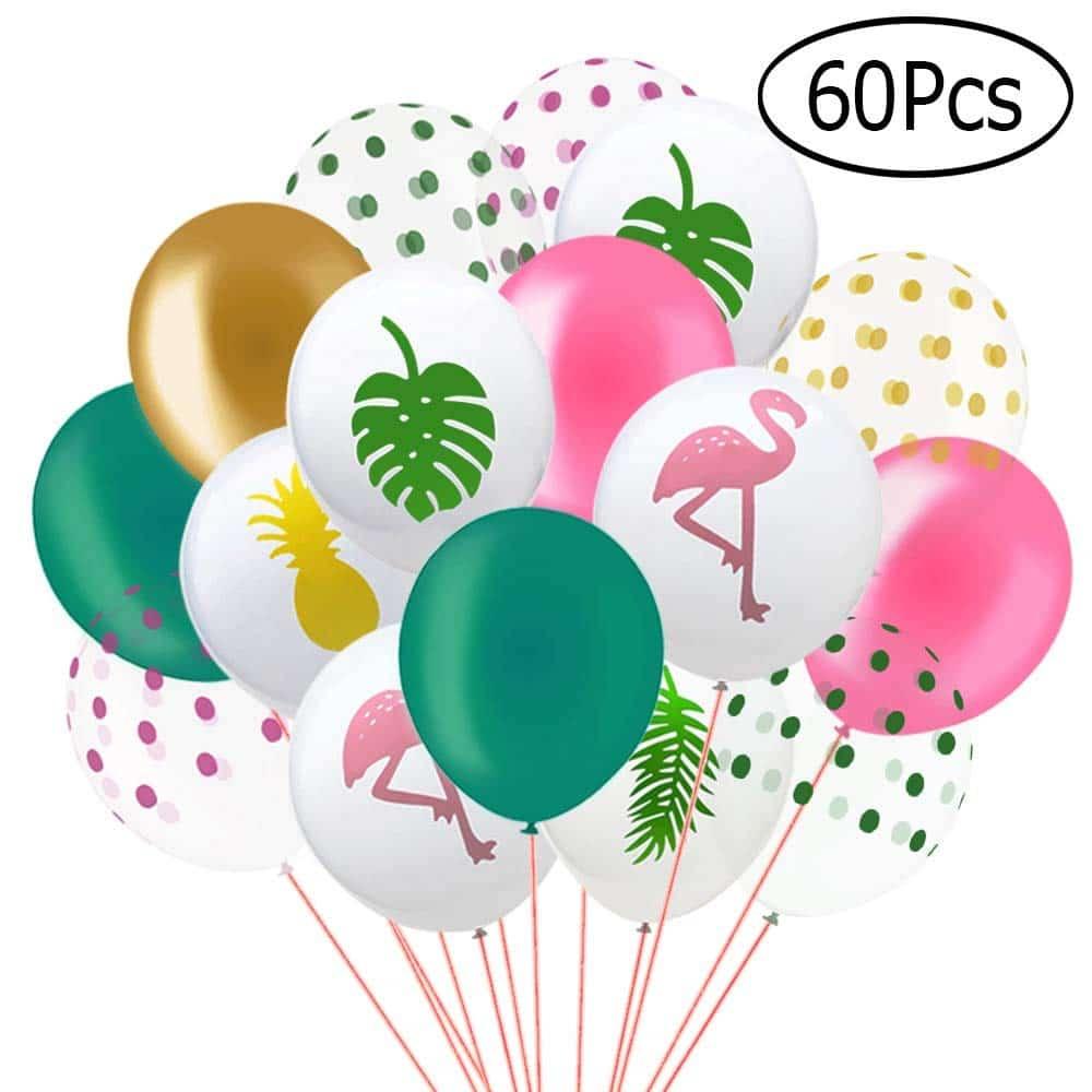 ad43511c1a77 Paquete de 60 Globos de Fiesta Tropical de Hawaii - Flamingo Piña Hoja  Tropical -Decoración Fiesta