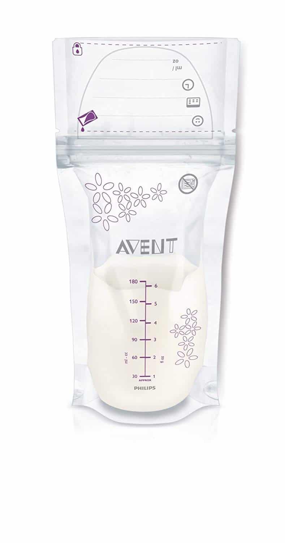 Philips Avent SCF603/25 - Pack de 25 bolsas para almacenaje de leche materna, 180 ml, color blanco