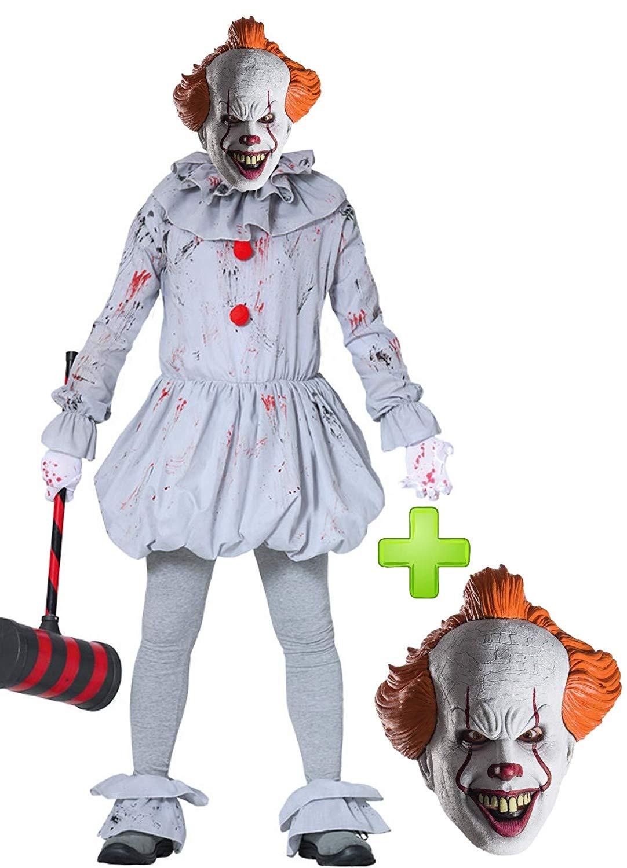 Disfraz de Payaso Siniestro IT con máscara de Pennywise