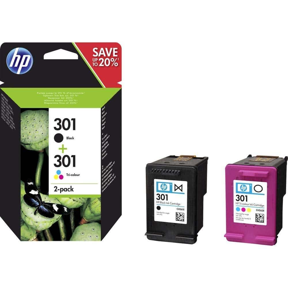 HP N9J72AE 301 Cartucho de Tinta Original, 2 unidades, negro y tricolor cian magenta amarillo