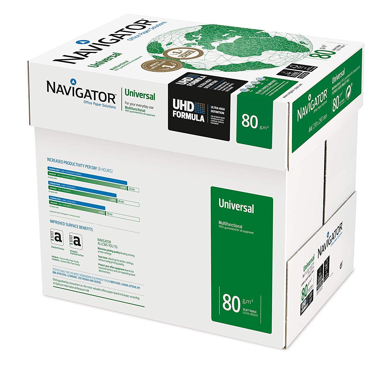 Navigator Universal - Papel de impresión 2500 hojas (A4, 5 x 500 hojas, 80 g/m2)
