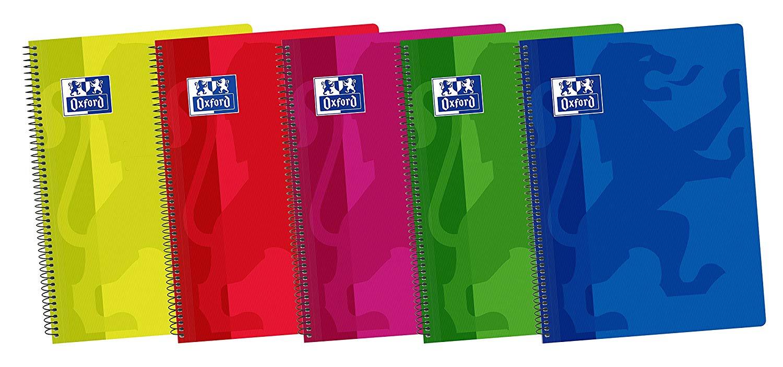 Oxford Classic - Pack de 5 cuadernos espiral con tapa de plástico