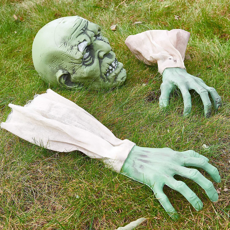 Prextex - Cara y Brazos de Zombi para Halloween con Estacas para Clavar en Césped Para el Mejor Cementerio de Halloween - Decoraciones Para Halloween
