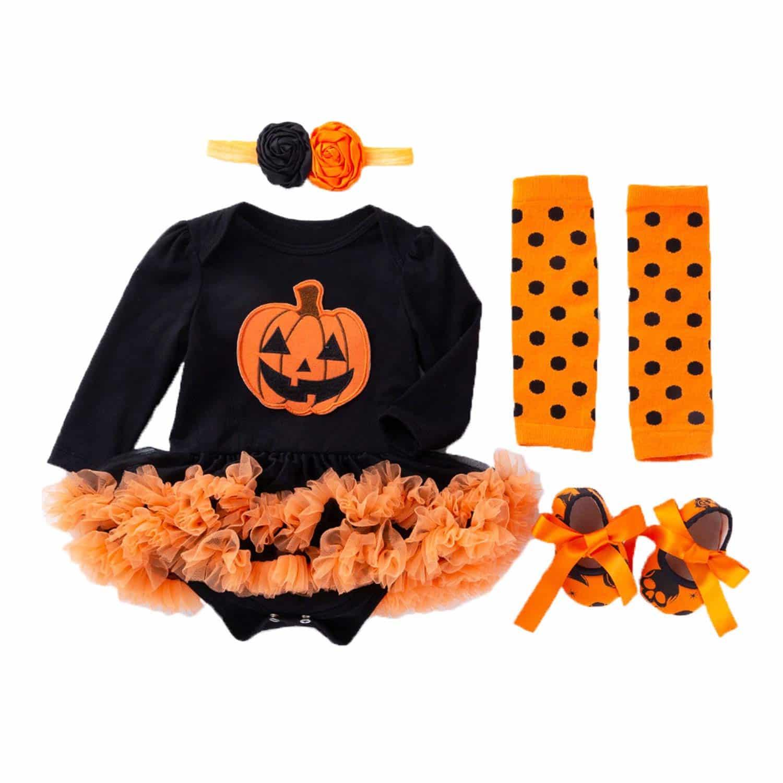 BabyPreg® Vestido de Halloween de las niñas infantiles Calabaza 4PCS Headband Legging Calzado