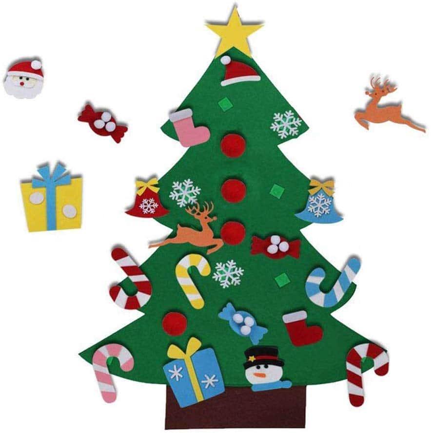 El árbol de Navidad del Fieltro de los 3.6FT DIY fijó + los Ornamentos Desmontables 26pcs, Regalos Colgantes de Navidad de la Pared para Las Decoraciones de la Navidad