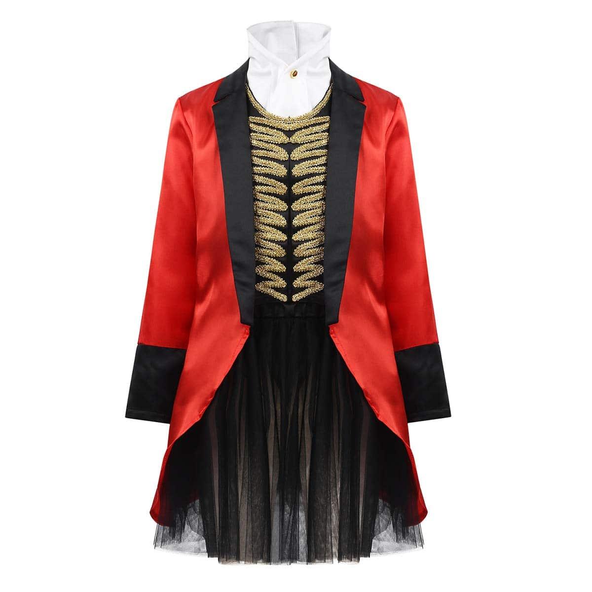 Disfraz de Domadora de Circo Mago - Chaqueta Roja con Falda Tutú Traje