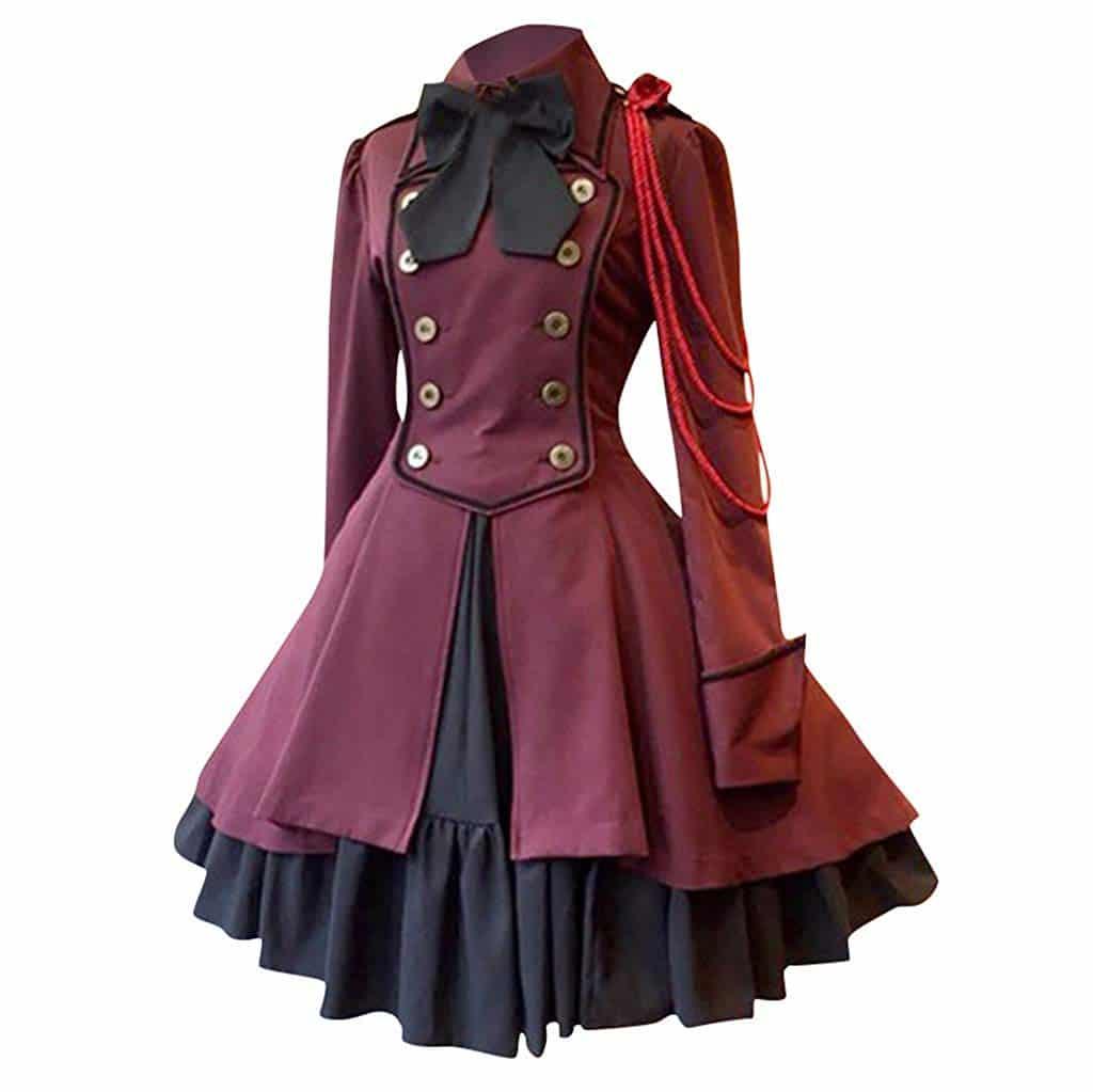 Disfraz Medieval Retro Vintage Mujer Color Rojo Vino