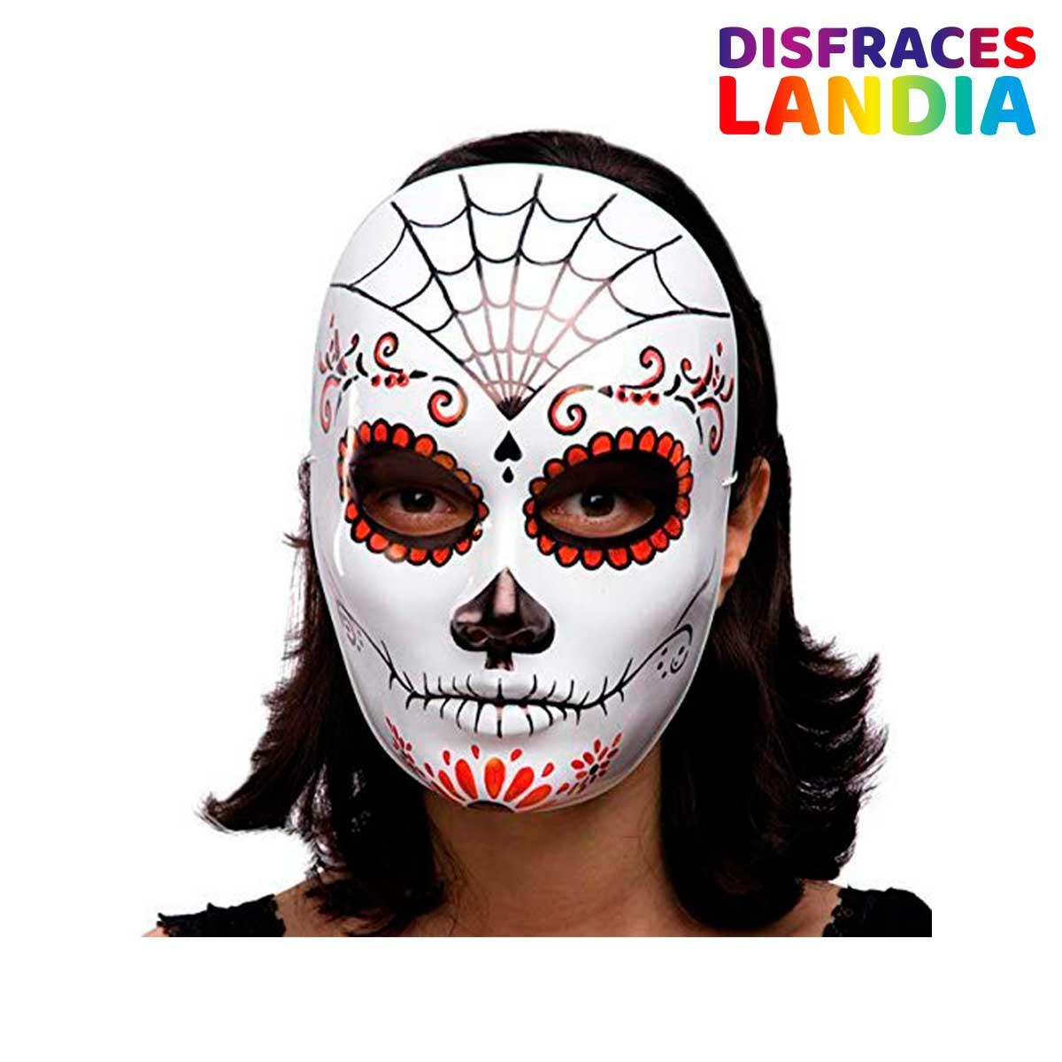 Carnival Toys Máscara de esqueleto decoración mexicana de plástico negro y rojo duro solo blanco [00175]