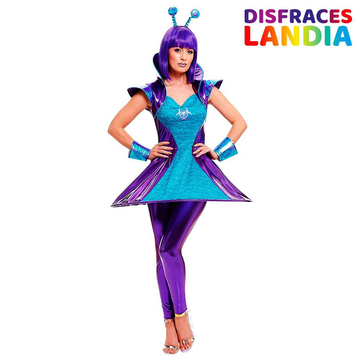 Disfraz de Marciana Alienígena Extraterrestre Morada para Mujer