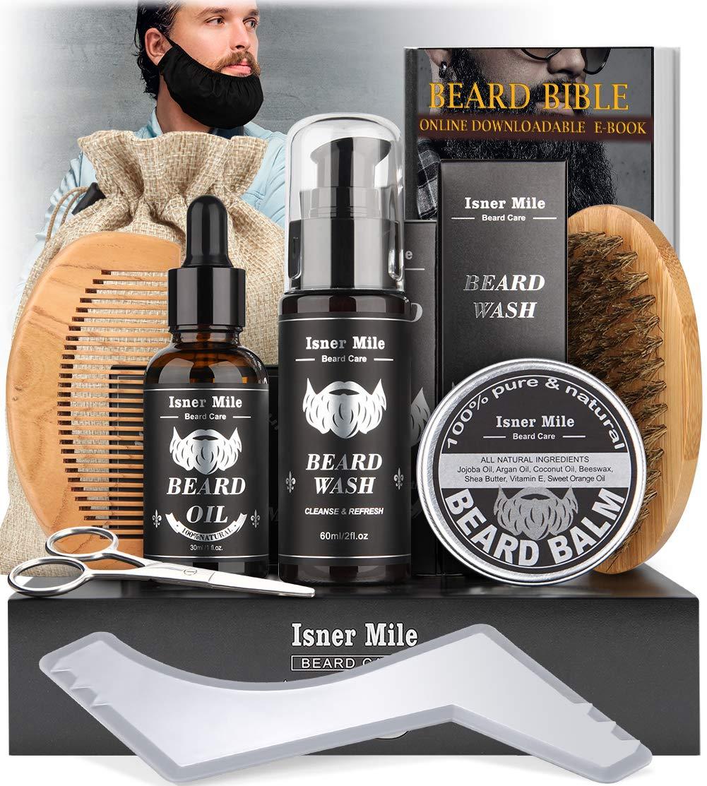 Kit Barba Cuidado Para Hombres, Set Herramientas de Aseo y Recorte Con Champú Barba, Aceite Crecimiento Barba, Bálsamo, Cepillo, Peine, Tijeras, Guía Barba, Mejores Regalos