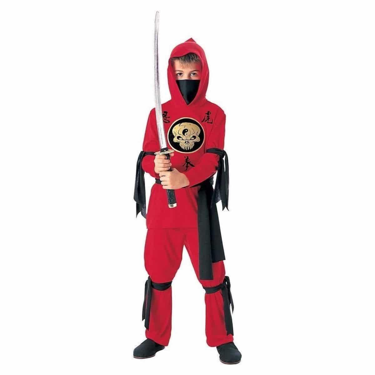 Disfraz de Ninja para Niños en Rojo Negro Varias Tallas