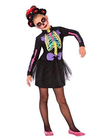 Disfraz de Catrina multicolor niña para Halloween o fiestas temáticas.