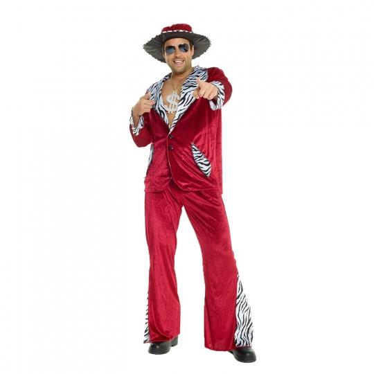 Disfraz de Terciopelo Chulo Burgundy Traje para Despedida de Soltero Vestido de Lujo