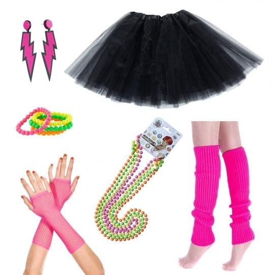 iLoveCos-80s-Accesorios-de-Disfraz-Fiestas-Nen-Custome-Falda-Tut-Adulto-Collar-de-Perlas-Pulseras-Colores-Fluorescentes-NenCalientapiernasGuantes-de-red-Aretes-Disfraz-Guantes-Night-Out-Party