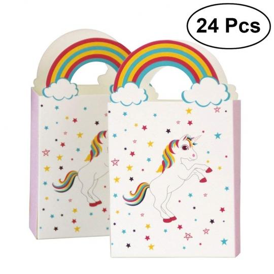 bolsas de papel del unicornio arco iris 24pcs