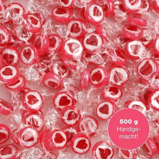 Caramelos con dibujo de corazón rojos y blancos rocks. Para decoración dulce de una mesa de bodas, bautizos, comuniones o día de San Valentín (500 GR) con corazón rojo