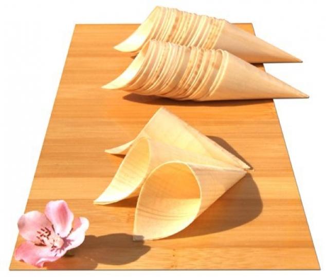 100 Conos de Madera Bambú para Aperitivos, Canapés, Snacks ComidaDecoración Eventos, Catering, AfterWork, Presentaciones, Fiestas100 conospara aperitivos, canapés, etc, de 180x 75mm.Bandeja no incluida.No son aptos para líquidos.