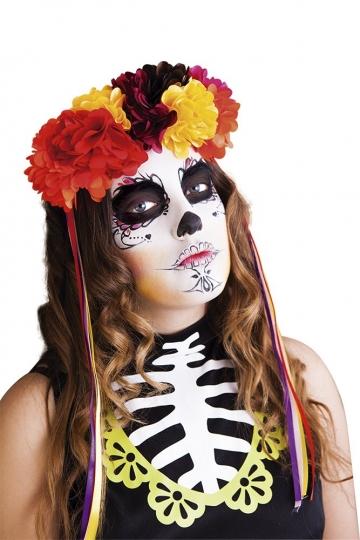 Diadema Katrina de lujo con Rosas - Halloween Día de los Muertos, Talla única - Rubies S4349