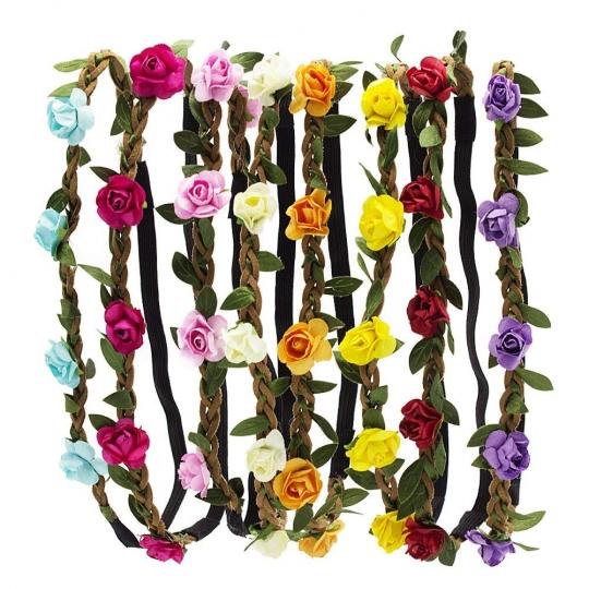 Diademas De Flores Multicolor Coronas Para Playa Festival Boda