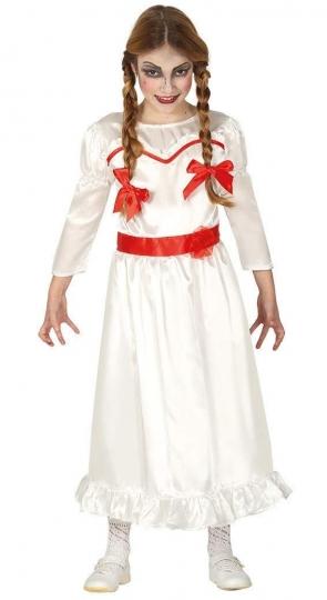Disfraz Anabelle Muñeca Poseída para niña Disfraz de Muñeca Poseída para niña, ideal para imitar el estilo de Annabelle, una de las muñecas mas terroríficas de la Televisión. Disfraces para halloween niñas terroríficas, que dan mucho miedo.