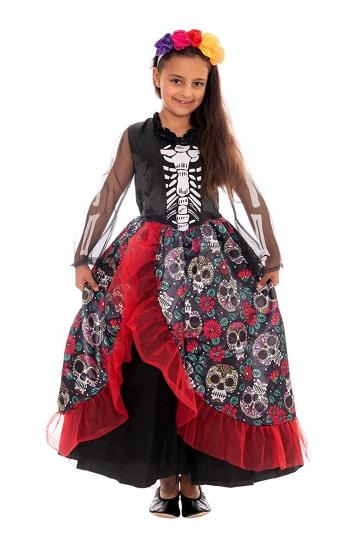 Disfraz de Esqueleto Mexicana, niñas, Incluye Vestido y Diadema - para Halloween