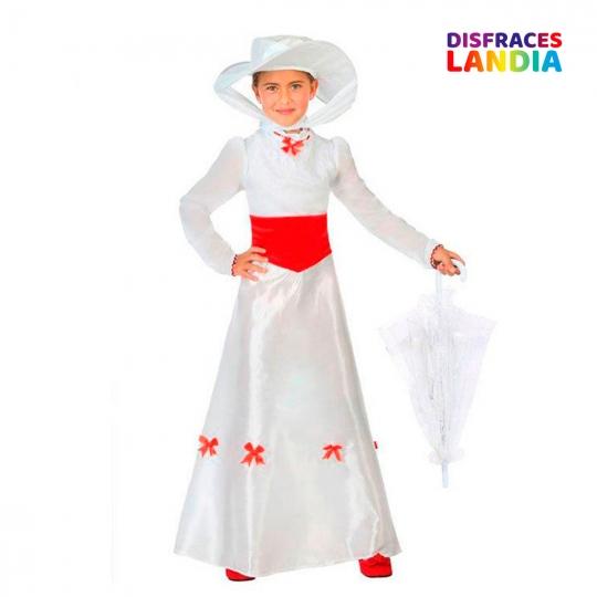 Disfraz Dama Inglesa - Niñera - Color Blanco - Mary Poppins