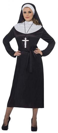 Disfraz De Monja Con Vestido Cinturón Y Tocado