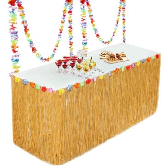 Falda de Mesa para Fiesta Tropical Hawaiana - Playa Jardín - Decoración de Fiesta