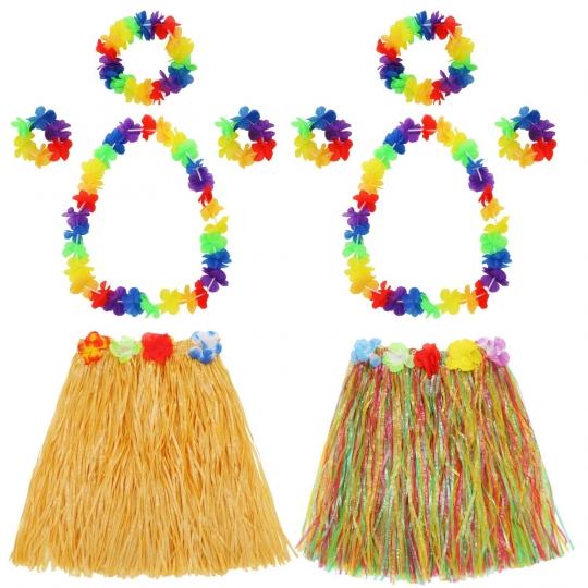 Falda Hula - Set Disfraces Hawaiana - Guirnalda de Flores, Pulsera, Diadema, Collar Flores Hawaianas