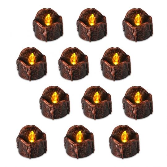 Luces Decoración Halloween - 12 Velas Led Pequeñas, Velas Led de Té Velas Eléctricas con Baterías para Decoración Halloween