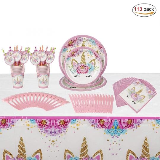 Vajilla Unicornio Desechable Accesorio de Decoración de Fiesta de Cumpleaños Plato Servilletas Taza Paja Mantel para Niños Niña Baby Shower